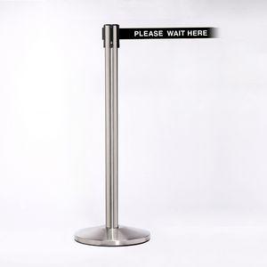 Stainless Pole W/ 11 Heavy Duty Belt/Lock W/ Please Wait Here Message