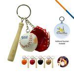 Baseball Glove Keychain-Red