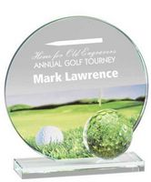 """Glass and Crystal Engraved Award with Golf Ball and Color Graphic - 4"""" Tall"""