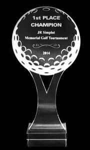 Acrylic and Crystal Engraved Award - Y Golf Ball - 7