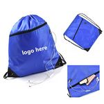 Sports Drawstring Backpack with Front Zipper Pocket