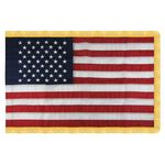 5' X 8' U.S. Indoor Nylon Flag with Pole Hem and Fringe