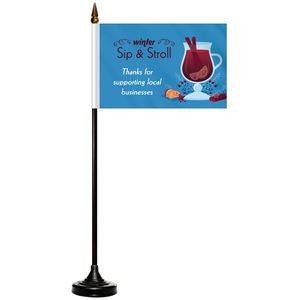 Single Reverse Stick Flag with Black Wooden Base