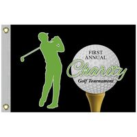 """14"""" x 20"""" Custom Single Reverse Knitted Polyester Golf Flag with Heading & Grommets"""