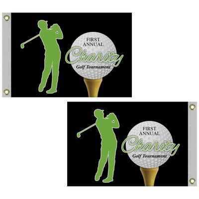 "14"" x 20"" Custom Double Sided Knitted Polyester Golf Flag with Heading & Grommets"