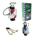Desktop Golf Metal Pens And Golf Bag Holder With Clock