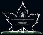 Custom Maple Leaf Glass Award