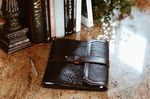 Custom Buffalo Padfolio - Onyx with Walnut Vachetta Trim