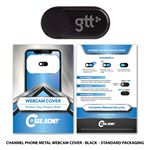 Custom Webcam Cover Channel Phone Black Metal + Custom Packaging