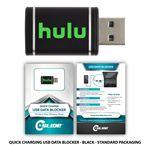 Custom USB Quick Charging Data Blocker Black + Custom Packaging