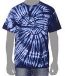 Custom Vat Spiral Tie-Dye T-Shirt (Navy Blue)